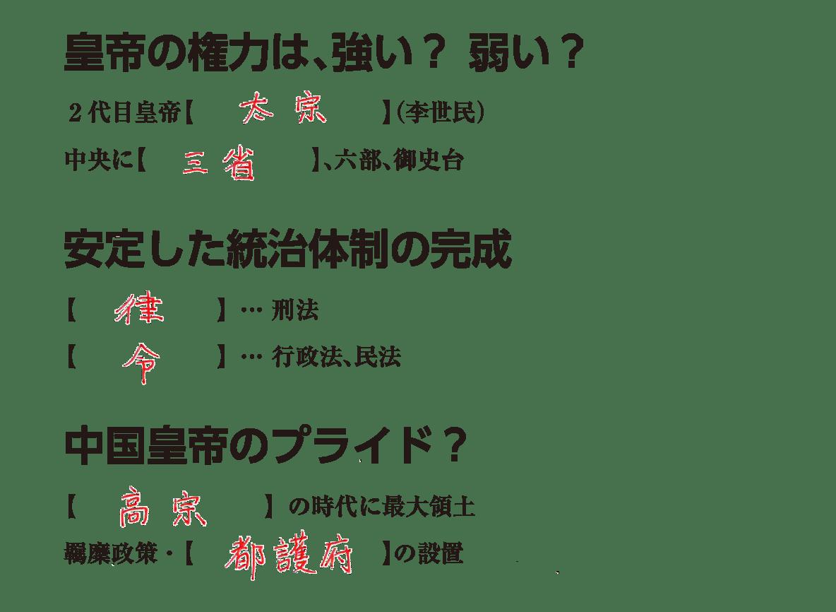 高校世界史 東アジア文明圏の形成(隋・唐)2 練習 答え入り