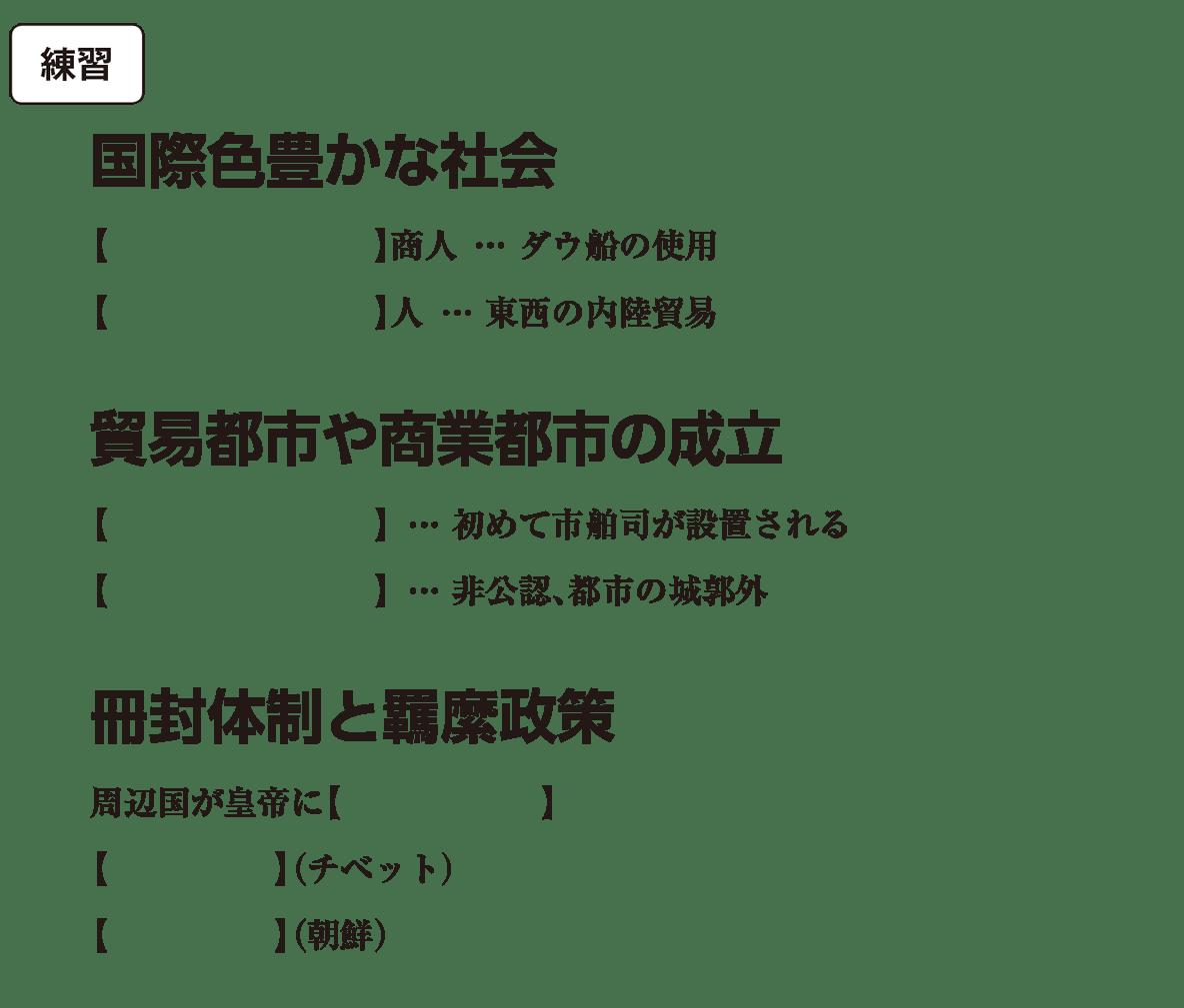 高校世界史 東アジア文明圏の形成(隋・唐)4 練習 括弧空欄
