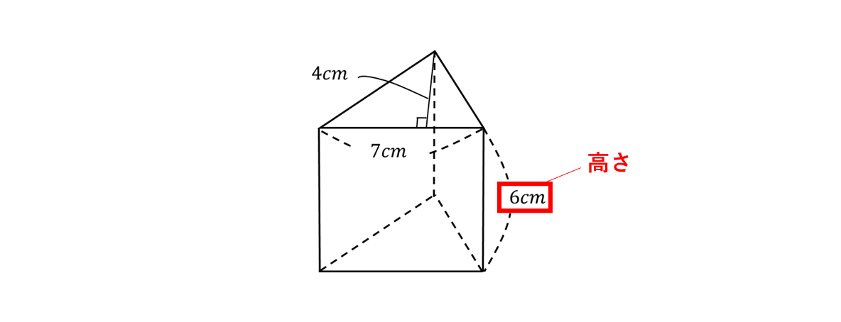テスト記事 中1 数学6 問題1の見方の図高さ