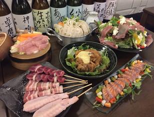 地鶏料理と旬野菜の贅沢かんざき家コース 料理6品+3時間飲み放題付き