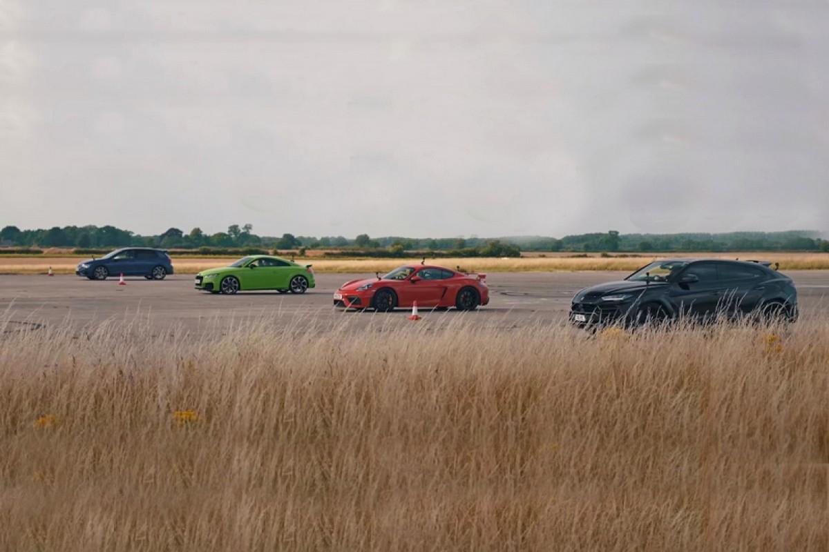 同集團大亂鬥,Lamborghini Urus vs Porsche Cayman GT4 vs Audi TT RS vs Volkswagen Golf R