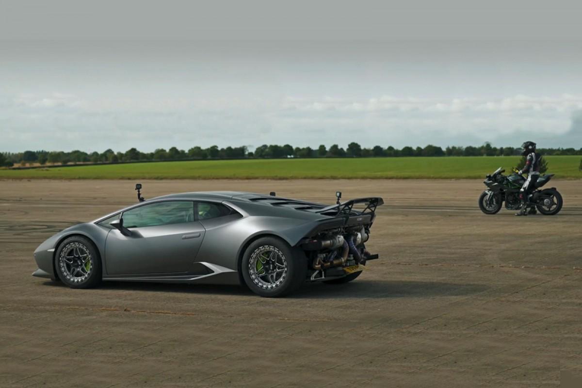 千匹蠻牛Lamborghini Huracan尬二輪怪獸Kawasaki Ninja H2R
