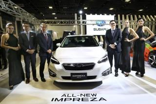 陳唱集團首席執行長-陳駿鴻先生與日本富士重工業株式會社原廠技術團隊一同於2017新加坡車展隆重發表All-New Impreza。