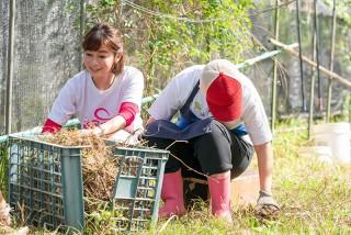 【車勢星聞】TVBS《健康2.0》 主持人鄭凱云訪樂山教養院,擔任「自立農藝班」一日志工,跟著院生一起拔雜草。(圖:TVBS提供)