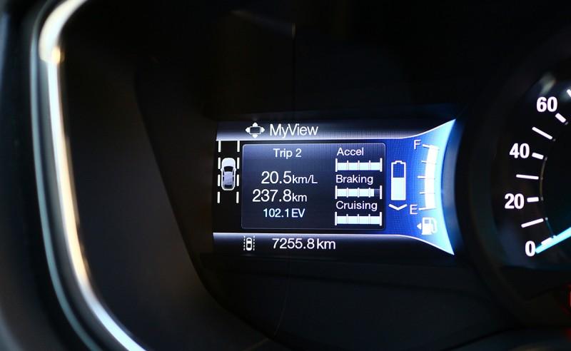 準備離開鹿港,此刻的里程紀錄顯示已跑237.8km,電腦計算平均油耗為20.5km/L。