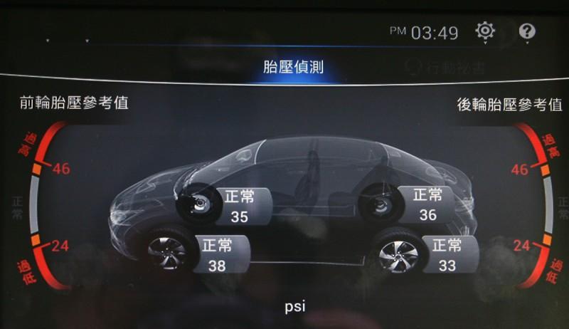 整合進中控大螢幕的胎壓偵測系統,呈現質感相當不錯。