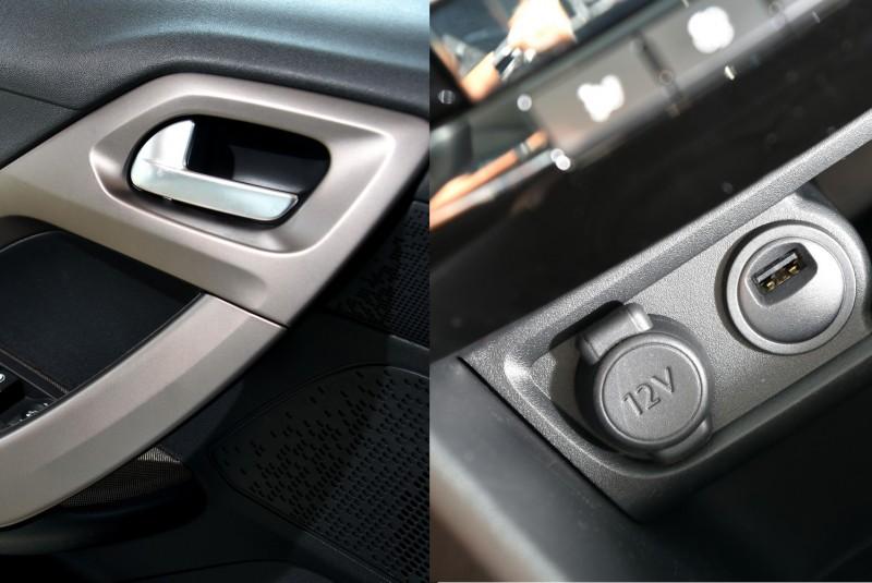 車門鈦色握把以及USB 12V插座都是貼心實用的設計