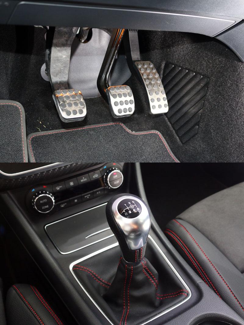 A250 Sport限量手排版所配置的六速手排變速系統,操作介面十分容易上手,離合器踏板好踏好接,比較特殊的是倒檔位置是在左下角,排檔時需要略為將排檔頭上提能進得了倒檔。