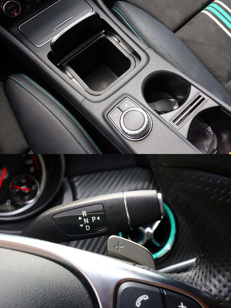 自排款的換檔機構就如同其他賓士車設在一般大家所熟知雨刷的位置,並附有方向盤換檔撥片,中央鞍座空出來的部分就多了個置物空間。