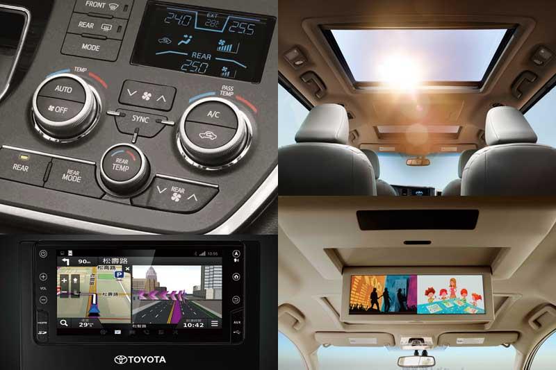 Sienna部分車型配有後座影音娛樂系統(XLE以上)支援藍光光碟、SD卡與HDMI訊號源獨立輸入,雙螢幕可同時播放不同影像,讓後座乘客也能恣意享受專屬的視聽娛樂,旅途上一路歡樂不停歇。獨特的雙天窗設計(LIMITED),創造開闊透亮的車室視野。