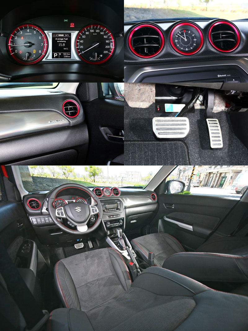 全新Vitara頂級車型的內裝鋪陳頗具水準,以黑色為底,搭配紅色飾件與縫線點綴出質感。
