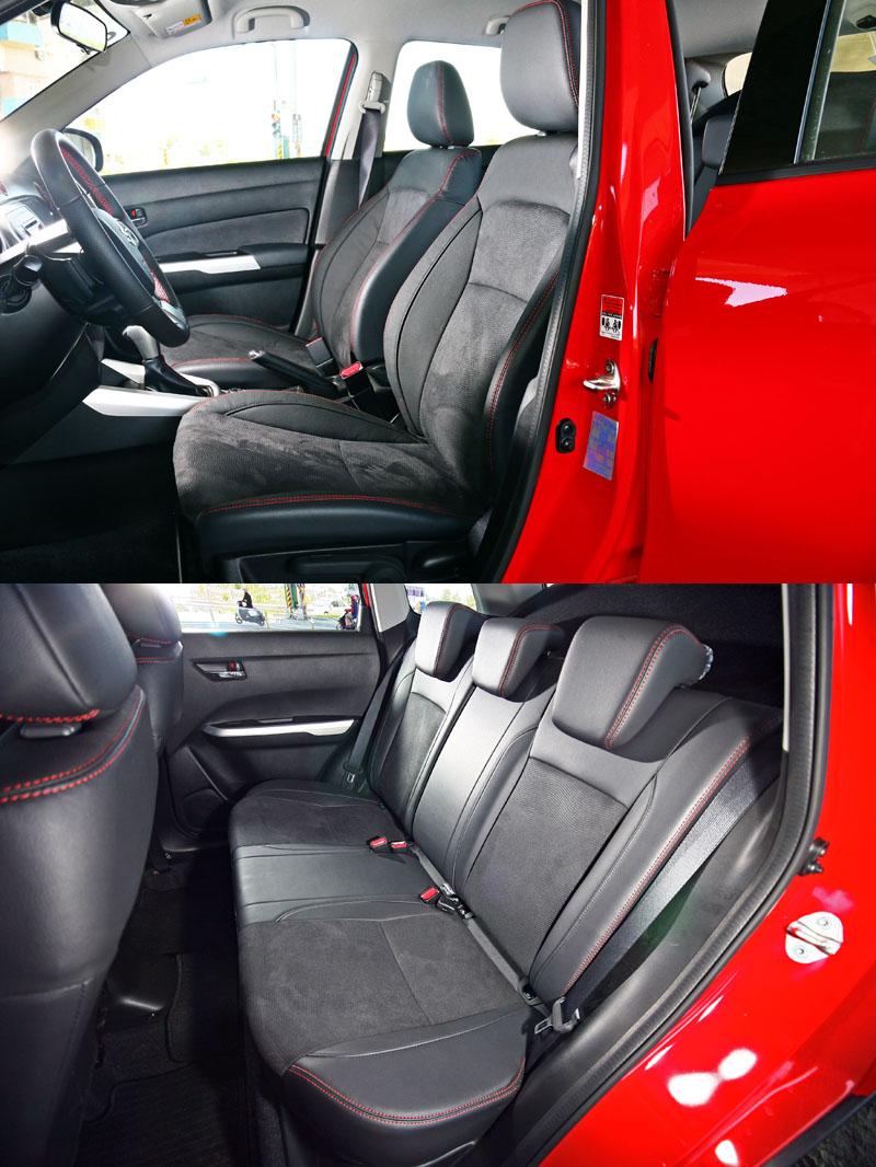 試駕的4WD頂級車款座椅採真皮與類麂皮雙材質包覆,座椅乘坐舒適性也有不錯表現。