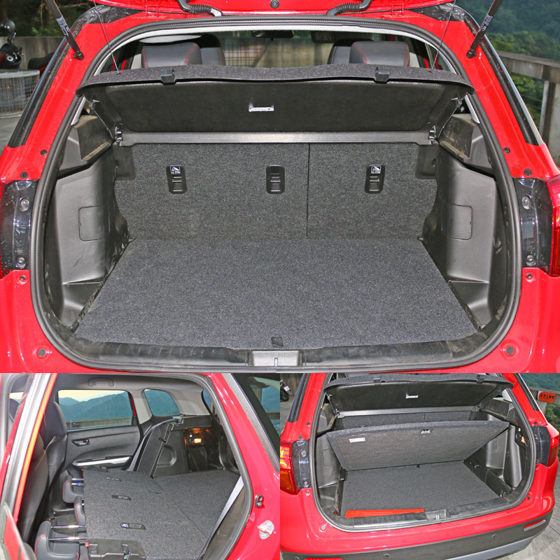 行李廂空間就是同樣已經夠用後座椅背放倒後可騰出更大的平整置物空間,另外底板下方也還有夾層空間可置物。