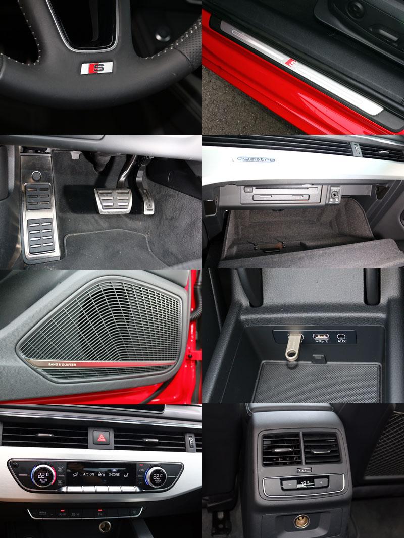 試駕車另選有S-Line套件,具有空力套件、19吋鋁圈、專屬座椅、方向盤等部品,並且標配有B&O音響與三區恆溫空調。