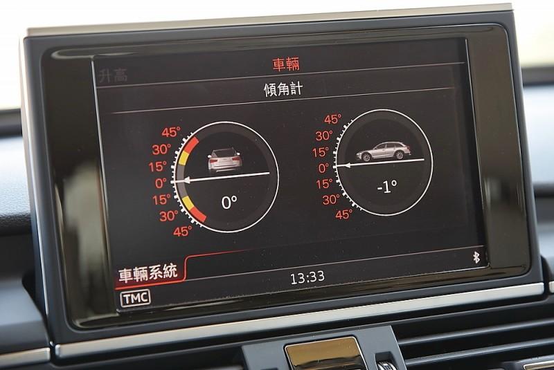 車內中控螢幕還能顯示車身縱向與橫向傾斜角度