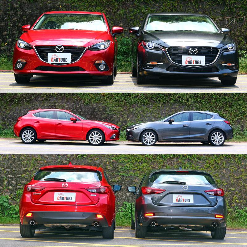 右側採全新鋼鐵灰車色〈新增車色,需加價一萬〉的為小改款Mazda3,左側則為小改款前車型。
