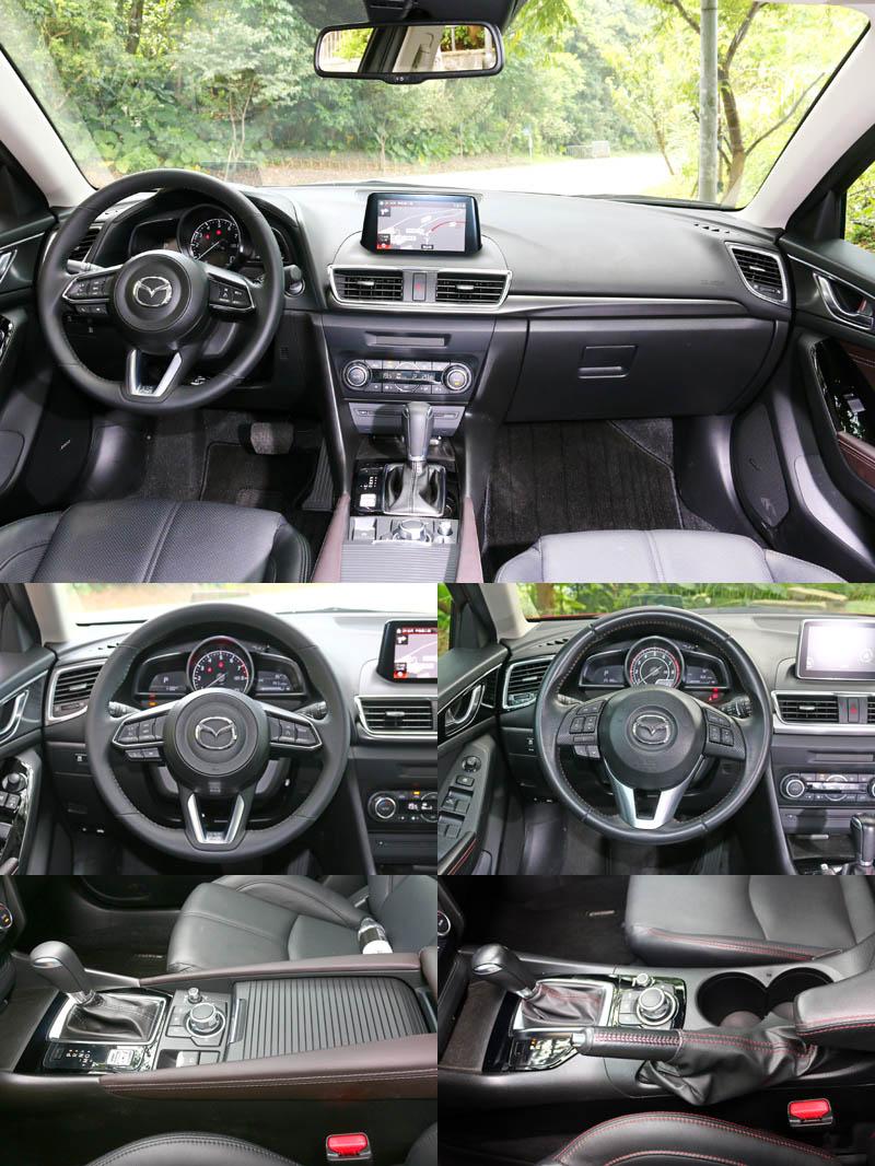 新改款Mazda3更換了方向盤樣式〈左側為新款〉,高階車型也改配電子手煞車系統。