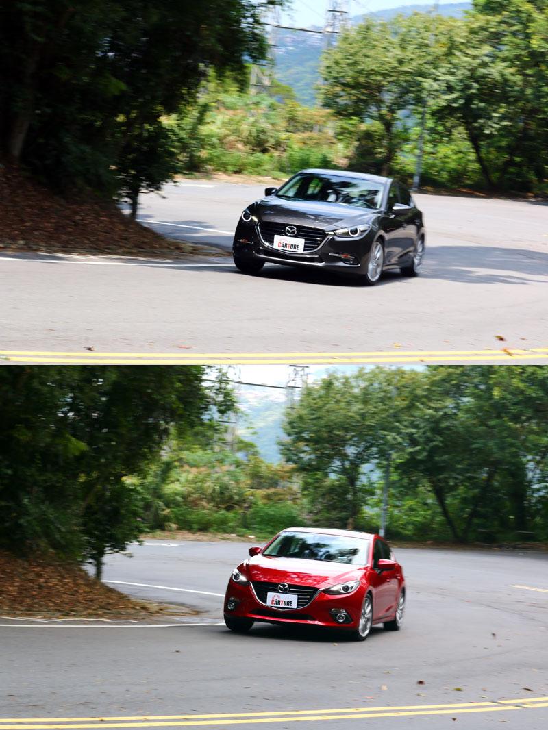 即使是新〈灰〉、舊〈紅〉車款在同一彎中也難看出太大的差異,但就在那毫釐間,新款Mazda3有了更順暢的動態表現。