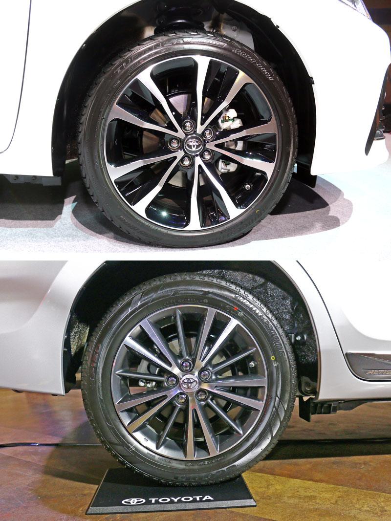 上圖尊爵配置的17吋雙色削切鋁圈,下為豪華、經典配置之16吋雙色鋁圈。
