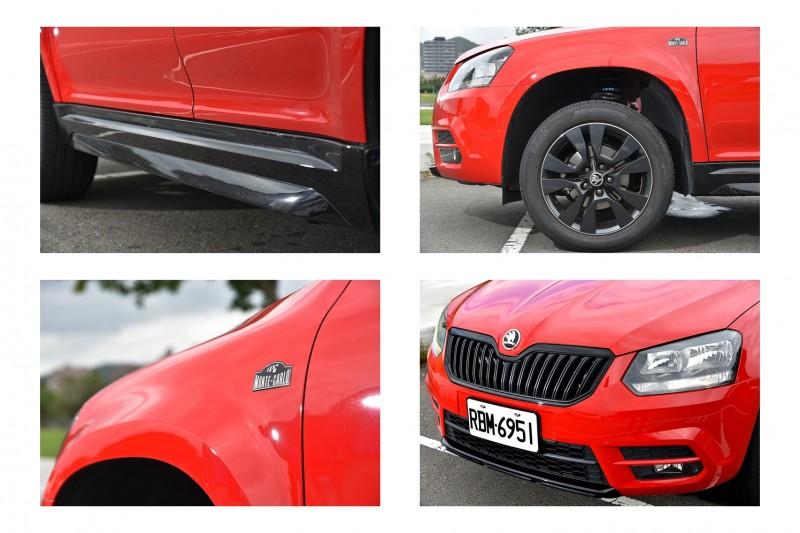 Yeti Monte Carlo與現役越野賽車同步採用紅黑雙色塗裝,葉子板上鑲有Monte Carlo銘牌