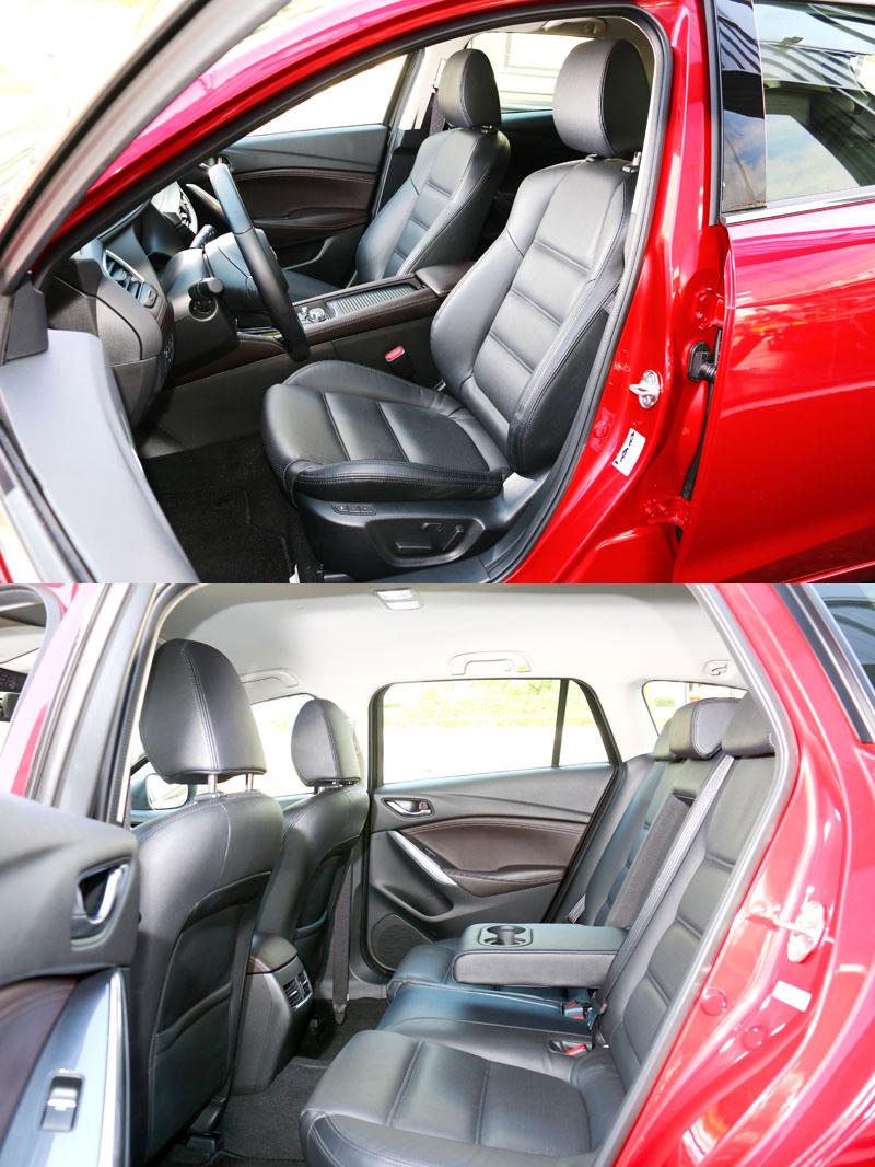 Mazda6 Wagon車內空間表現中規中矩,前駕駛座附有兩組記憶之八向電動調整功能,副駕駛座則是配置四向電動調整。