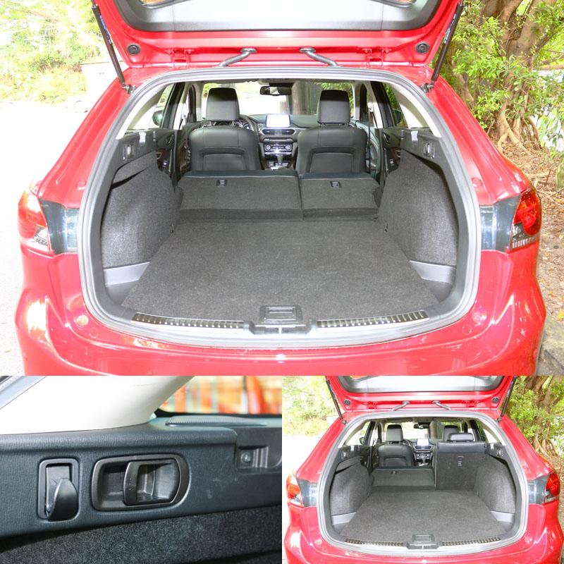 Mazda6 Wagon後行李廂最大容積可擴充到1593L,行李廂兩側除設有椅背快速翻倒拉柄外,還附有可承重3kg的掛勾。