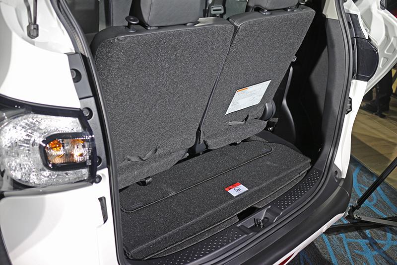 這是兩人座、五人座與七人座三種座椅狀態下的行李廂狀況。
