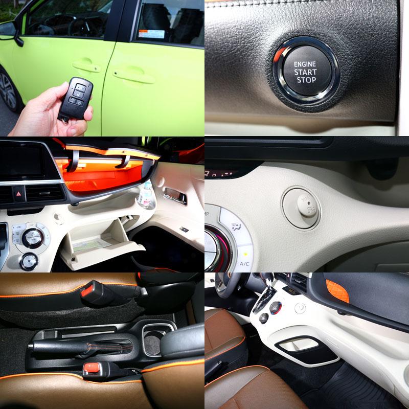 Sienta全車系都標配全車系標配Push Start引擎觸控啟動系統與Smart Entry車門啟閉系統,並在前座四周設有許多置物空間與在副駕駛側設有吊物掛勾。