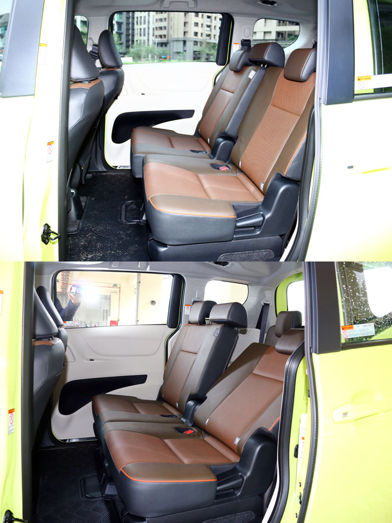 Sienta第二排具有前後滑移與椅背傾斜角度調整功能,增加空間運用彈性也可增加乘坐舒適度。