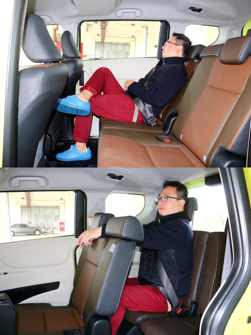 Sienta的後兩排空間相當夠用,尤其第二排座位在椅背向後傾後可以乘坐得更舒適,第三排座位的椅背也可略向後傾,但如果能增配扶手舒適性會更好。