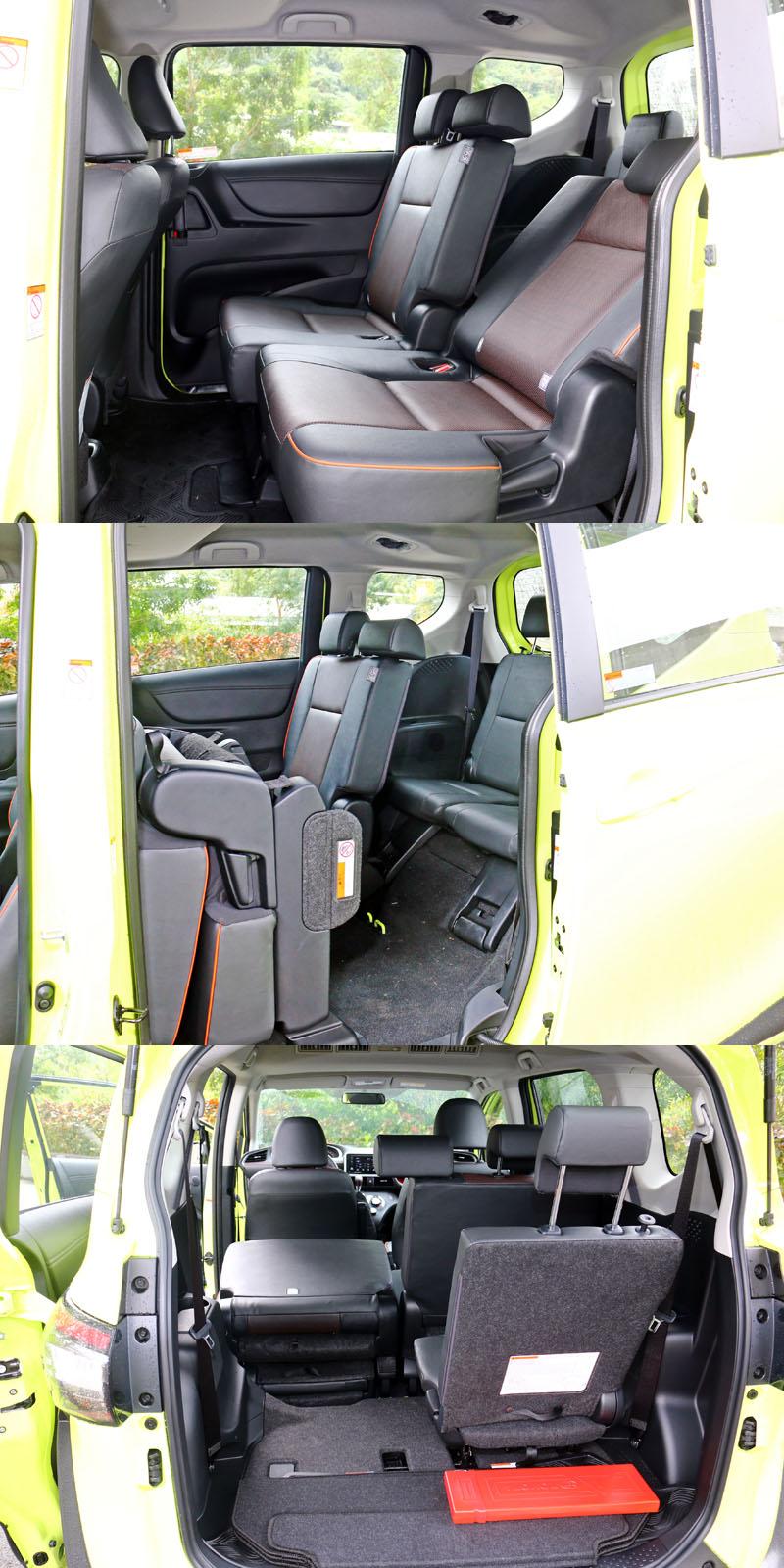 寬敞且具彈性運用的空間是Sienta最有吸引力的特色,第三排座椅可直接收納至第二排座位下方,相當便利。