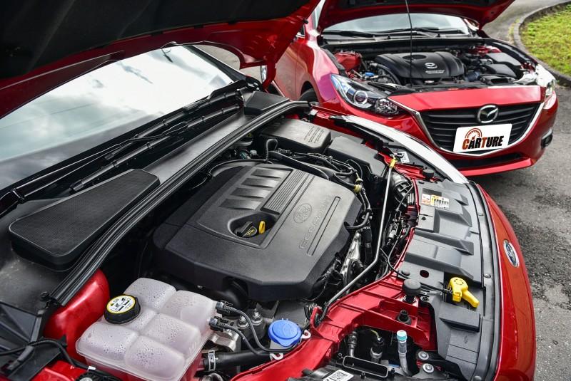 雖然Mazda3旗艦型搭載排氣量較大的2.0升汽油引擎,但輸出表現卻不若具備渦輪增壓系統的Focus EcoBoost 180五門汽油頂級運動型車款。