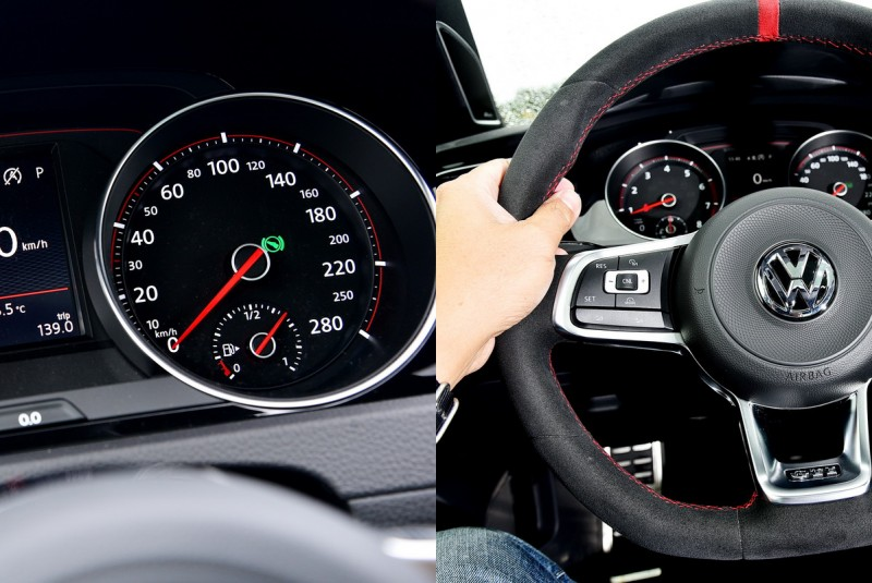 極速被限制在250km/h,紅色縫線麂皮包覆方向盤擁有極佳握感