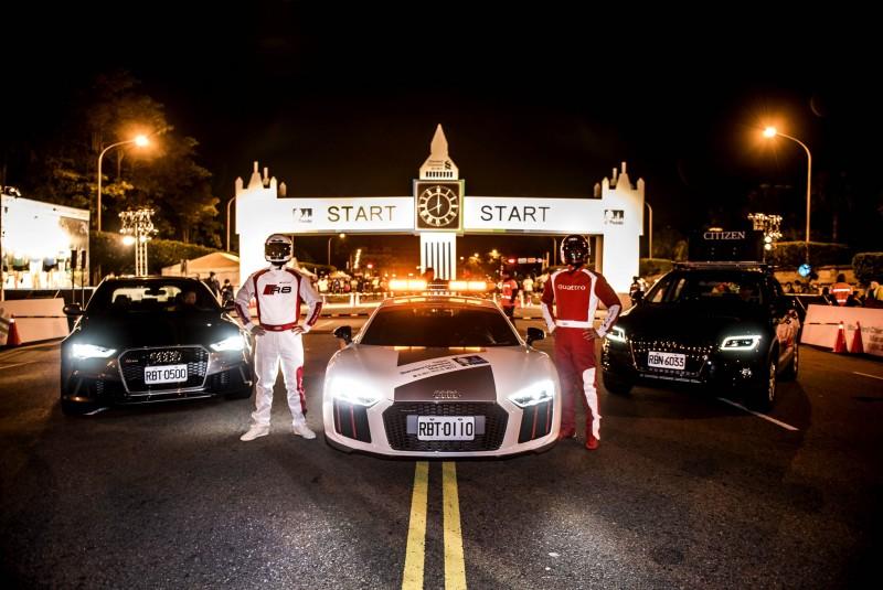 響應2017臺北渣打公益馬拉松,台灣奧迪特別鉅獻,以價值千萬的Audi Sport旗艦超跑Audi R8做為本次賽事領跑車,以及豪華SUV Q5計時車和大會工作車RS 6 Avant,現身凱道為跑者加油打氣! 圖3:台灣奧迪總裁Ryan Searle和渣打國際商業銀行總經理陳銘僑,以及現場近3萬名跑者從總統府出發,為自己和所有跑者喝采!