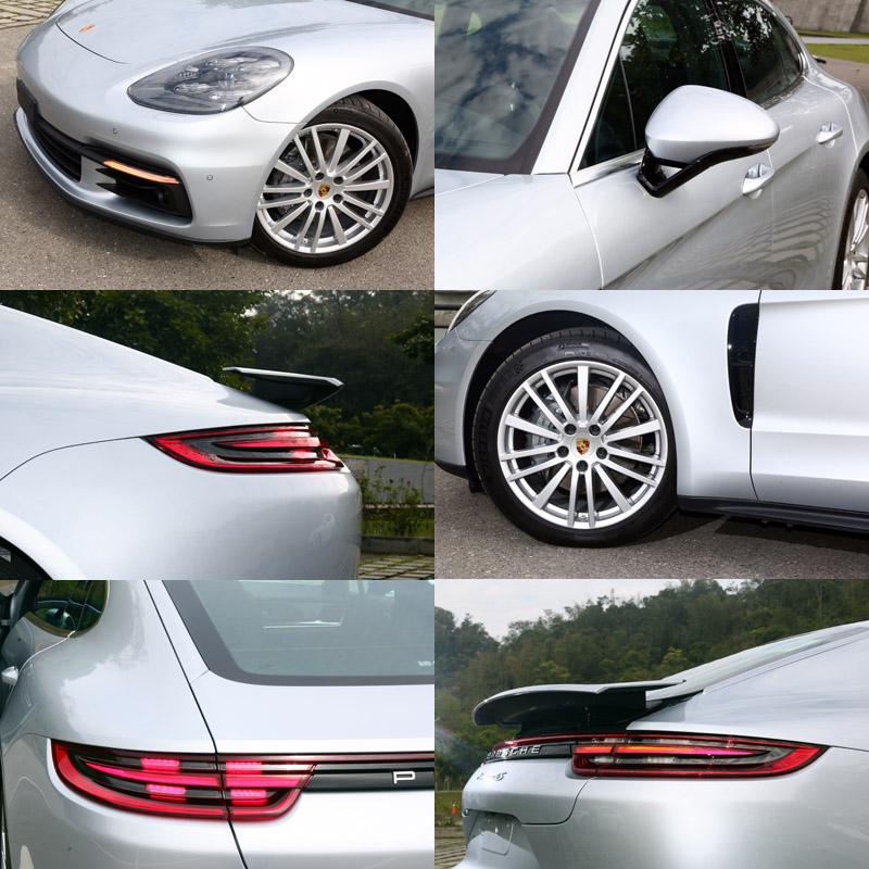 全新Panamara在外觀上也融入許多Porsche當前的家族元素,包括了四點式的LED日行燈,四點式煞車燈等,並將後視鏡改為V型支架設計,試駕車另選配了20吋Porsche Design樣式鋁圈。