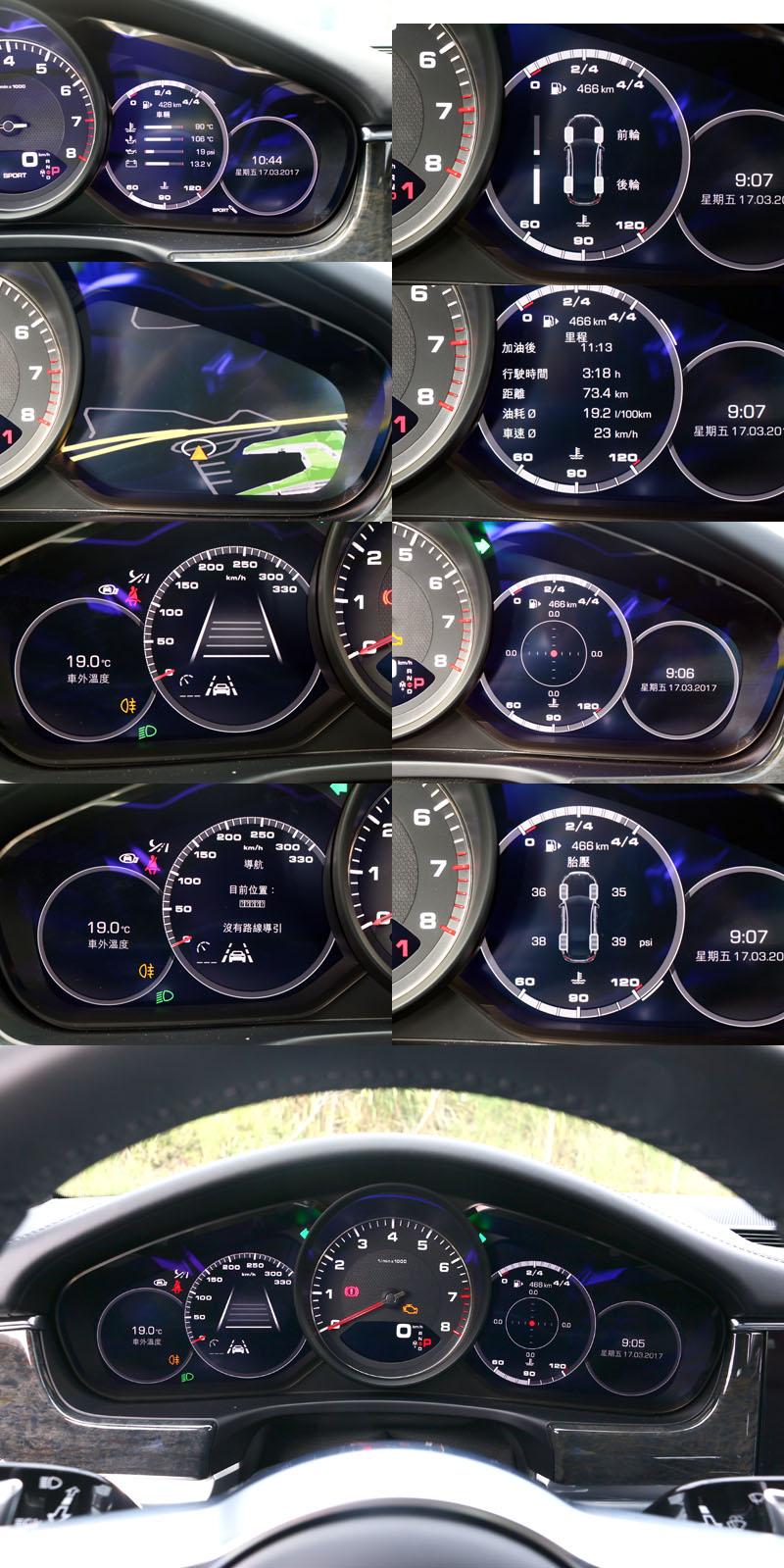 雖然全新Panamera大量導入數位化介面,但儀錶板中央仍維持傳統配置類比式的轉速錶,儘將兩側改為數位螢幕,可切換多種不同顯示功能。