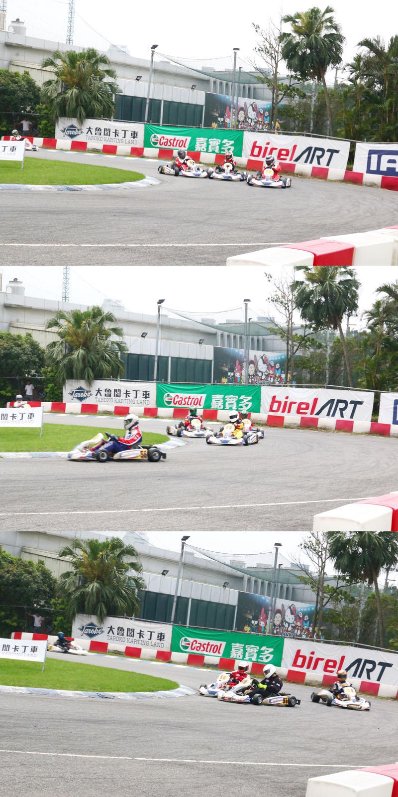 由於參賽者眾,競爭激烈,三回合比賽皆無冷場,時時刻刻都會有多車同時搶進彎的畫面。