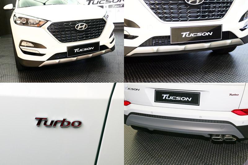 1.6 Turbo在外觀上,改採黑色格狀水箱護罩、金屬下護板、車尾則有矩形鍍鉻雙出尾管,並嵌上「Turbo」銘牌以示身分。