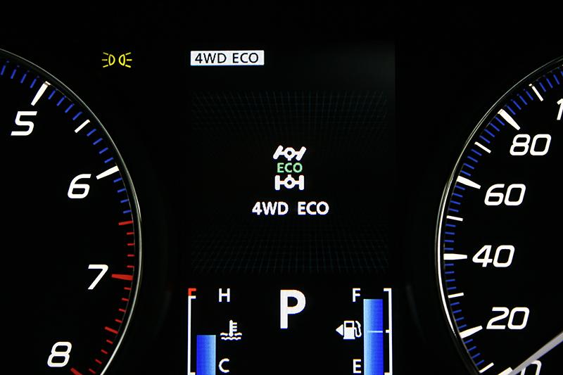 4WD電子控制四輪傳動系統可因應不同道路提供三種模式,更因此達到13.7km/L一級油耗成績