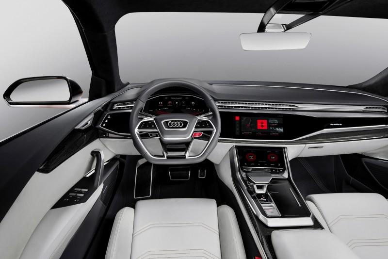 全新Audi Q8 sport concept概念車的Android系統,可讓駕駛者即便沒有智慧型手機,也可以自由在MMI上操作串流或是APP服務;也可在導航的時候決定是要使用Audi的HERE圖資系統導航,或是選用google map來導航。