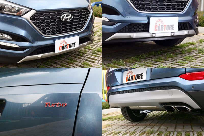 黑色的格狀水箱護罩、前後金屬下護板與矩形鍍鉻雙出尾管都是Tucson 1.6 Turbo專屬外觀特色,並有「Turbo」銘牌以示身分。