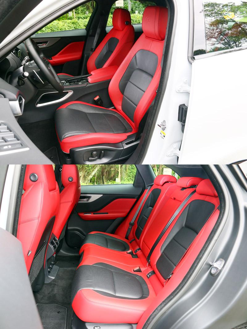 F-Pace S車型座艙中基本採高性能車最愛用的紅/黑配色,但也另有其他配色可選擇。
