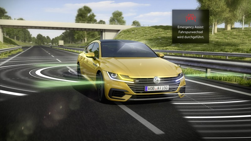Volkswagen結合安全與智慧駕馭開發新世代緊急輔助系統,且搭載於旗下全新轎跑車款:Arteon,其科技榮膺2017年德國移動力大獎肯定。