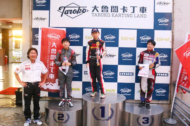 IAME X30 Junior組前三名:周延宸、黃士華與周子涵。