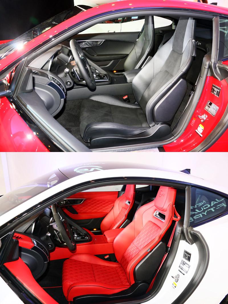 上圖為New F-Type Coupé 車型配置之輕量化跑車座椅,下圖為New F-Type SVR 車型配置的高性能賽車座椅並搭配以菱格紋工法的頂級全真皮包覆。