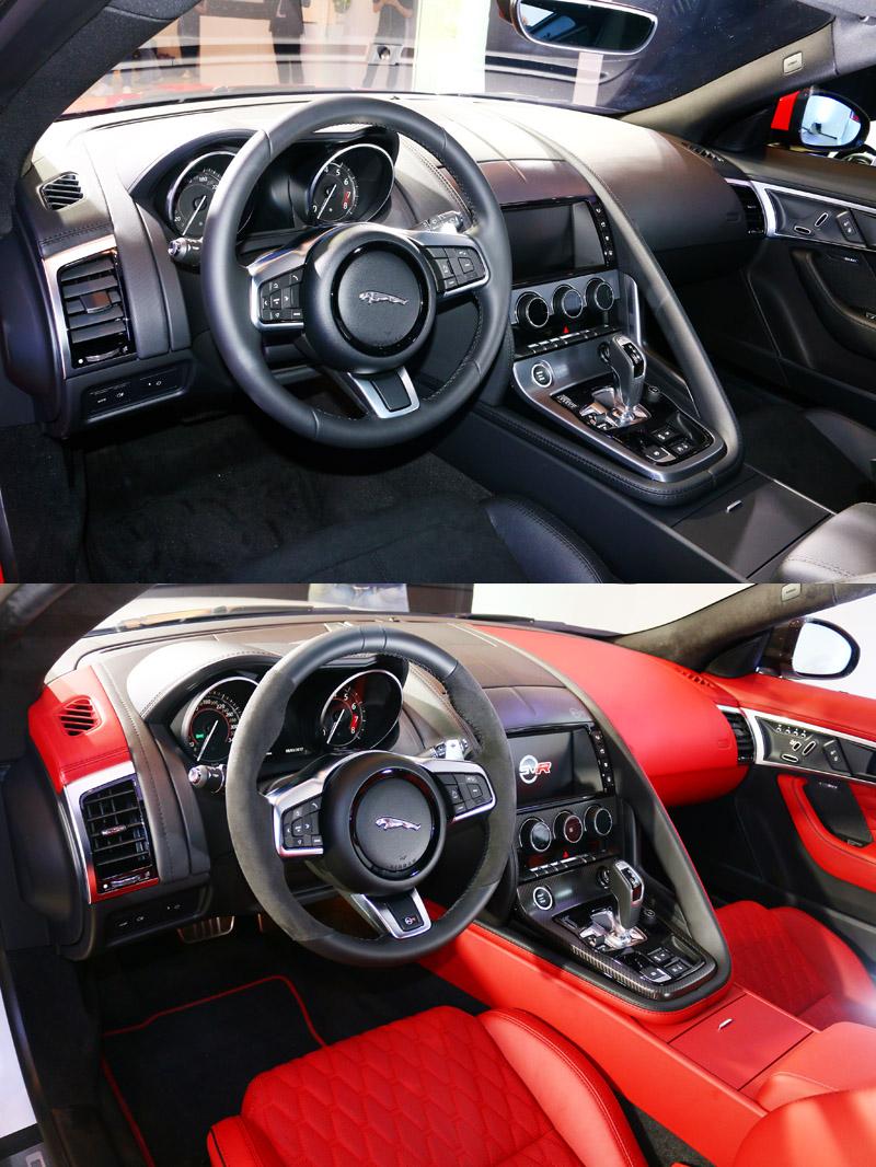 上圖為New F-Type Coupé 控台陳設,下圖則為New F-Type SVR 車型。