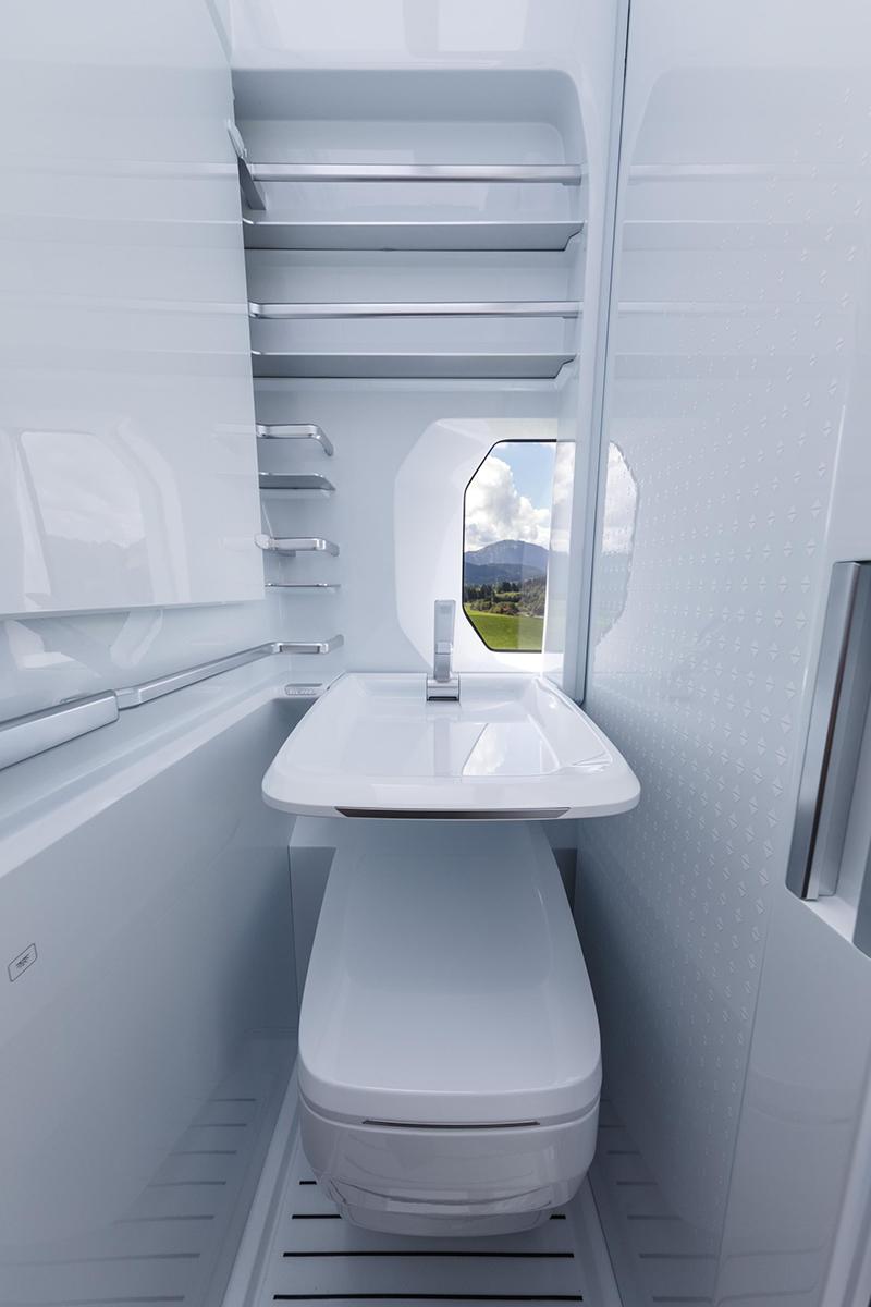 衛浴空間雖然不大,但設計卻相當別緻。