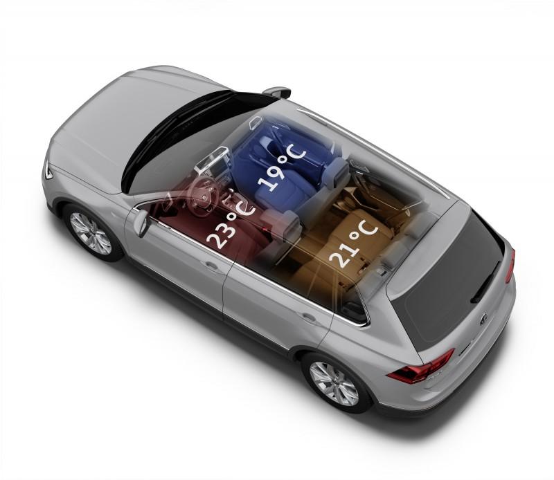 Volkswagen Tiguan配置三區全自動電子恆溫空調系統,完善提供舒適、快意的駕乘體驗