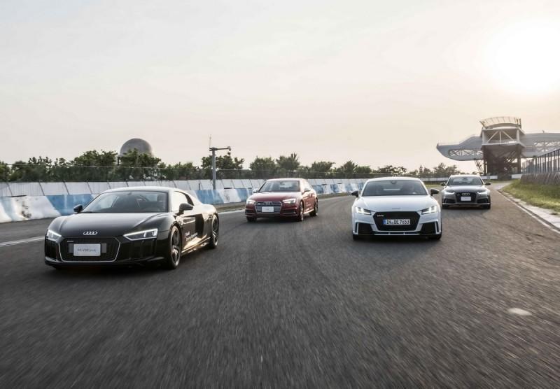 Audi Driving Experience 2017極限體驗營現場出動地表最強五缸引擎TT RS 、四環旗艦超跑R8 V10 plus以及RS 6 Avant、S4、S5、S6等S/RS性能車款,共同打造極致賽道飆速快感!