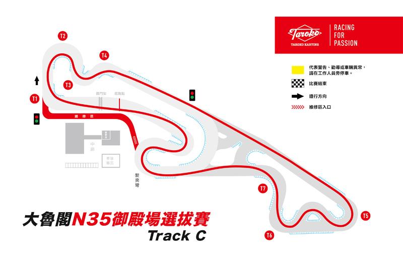 Track C= 大魯閣Track C賽道近幾年較常使用,直線底5號彎角結束後再勾進減速彎中,對車手掌握帶剎入彎還有方向盤的控制是個很好的測驗彎道。